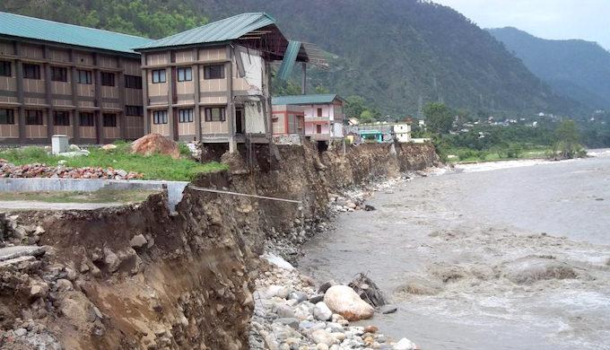 Flood damage along the Bhagirathi river in Uttarkashi in the Himalayas (Photo by Pushkar Rawat)